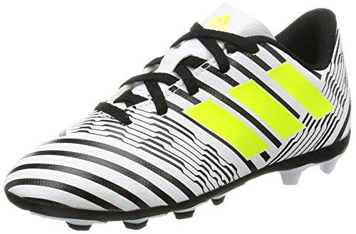 adidas Unisex-Kinder Nemeziz 17.4 FxG Fußballschuhe, Weiß (Footwear White/Solar Yellow/Core Black), 35 EU (Kinder Schuhe Fußball)