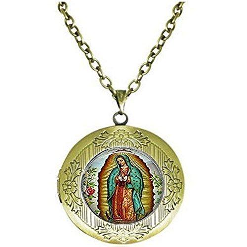 Collar de camafeo de Nuestra Señora de Guadalupe, collar de camafeo Virgen María, collar de encaje católico religioso