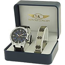 Men's Watch and Gift Box Black Synthetic Strap with Round Dial with Black Face Plus a Stainless Steel Strap Ref. CBH2-A765-NOIR-NOIR