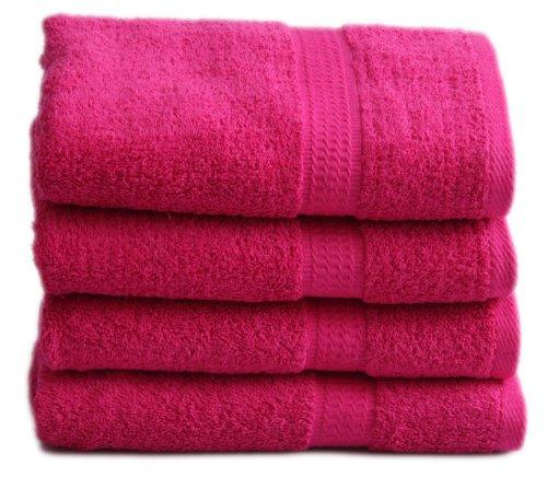 4 tlg. Handtuchset in MAGENTA, 4x Handtuch 50x100cm 100% Baumwolle 500g/m²