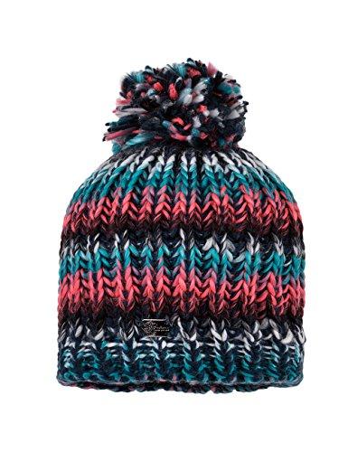 MaxiMo Mütze Grobstrick, mit Pompon - Bonnet - Fille Multicolore (dunkelmarine/multicolor 1199)