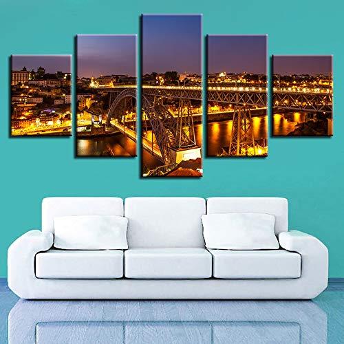 mmwin Kunstwerk Poster HD Drucke Dekoration 5 Stücke Stadt Gebäude Wandkunst Landschaft Modulare Bilder Wohnzimmer Leinwand