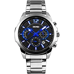 Jelercy Mens Unique Numeral Analog Quartz Waterproof Business Casual Stainless Steel Band Wrist Watch,Sliver