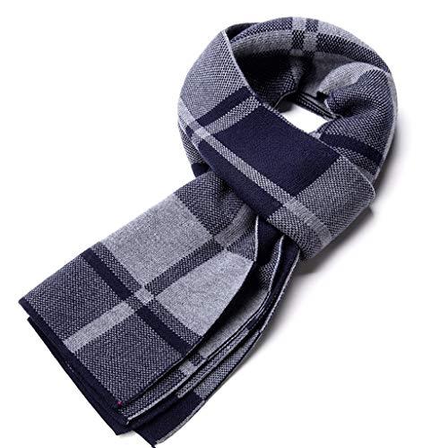 ZYN Plaid Series High Grade Men Schal Freizeit Business Dicker Winter Warm halten 180cm × 30cm (Farbe : Blau) -