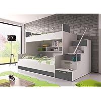 Preisvergleich für Hochglanz Etagenbett Doppelbett ALEX mit Regalen, Treppe und Bettkasten in weiß / schwarz / rosa / grau / violett / blau (grau)