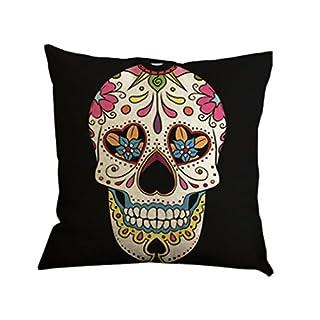 Nunubee Cotton Linen Cushion Cover 18X18 Pillowcase Throw Pillow Case Sofa Decoration Bones Skulls 6