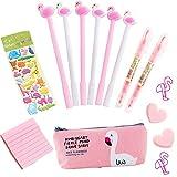 Flamingo nette Stifte Geschenkset, 6 Stück Kugelschreiber schwarz Stifte, die Spitze 0,5 mm Leinwand Federmäppchen Schulbedarf Büro Geschenk Zeichenfeder