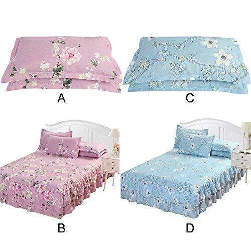 Colinsa 2 Sets Floral Spannbetttuch Bett Rock & 2 Pillowshams Bett Cover Bett Spannbetttuch-60 x 80 inch(150 x 200cm)