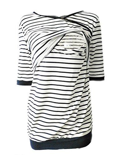 Babe Sweatshirt (Babe Map Still-Sweatshirt, gestreift, kurzärmlig, Stillen - Weiß - Groß)