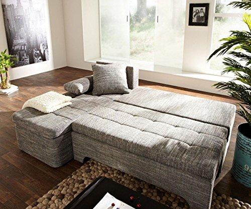 Couch Juline Grau 200x155 mit Schlaffunktion Ottomane variabel Ecksofa - 3