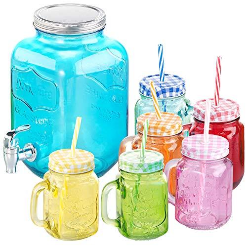 PEARL Trinkgläser: 7-teiliges Servier-Set mit Getränkespender, 6 Gläser, Einmachglas-Look (Party Gläser)