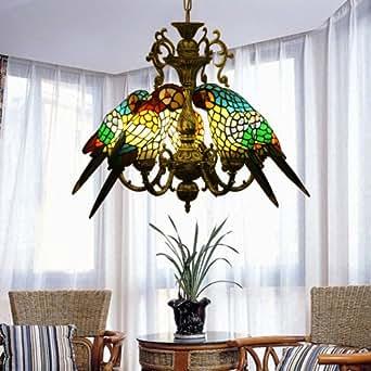 Perroquets Tiffany Art Glass Chandelier couleur Vintage cinq ampoules