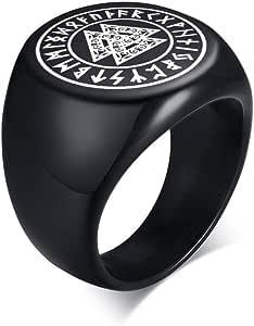 Vnox Acciaio Inossidabile Norreno Rune Vichinghe Anello con Sigillo Amuleto Celtico Pagano Peltro Vichingo Talismano Anello con Sigillo Regalo Gioielli per Uomo Unisex
