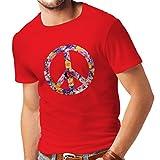 Männer T-Shirt Friedenssymbol, 60er, 70er Jahre, Hippie, Friedenszeichen Blume, Sommer, Retro, Swag (Medium Rot Mehrfarben)