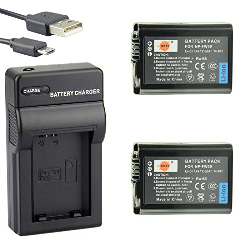 DSTE NP-FW50 Li-ion Batterie (2-Pack) et chargeur USB costume pour Sony A7, A3000, A6000, A6300, NEX-3, NEX-3N, NEX-5, NEX-5N, NEX-5R, NEX-5T, NEX-6, NEX-7