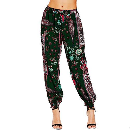 Kobay Pants Women, Ladies Casual Printing Pocket Elastic Band Trousers Long Pants Baggy Pants High Waisted Pants