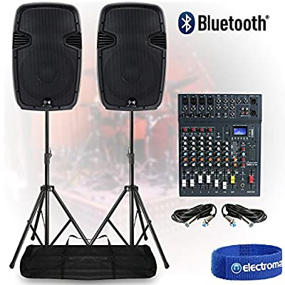 Live Sound PA Speaker System 8-Ch Bluetooth DJ Mixer 1200W Active with Stands