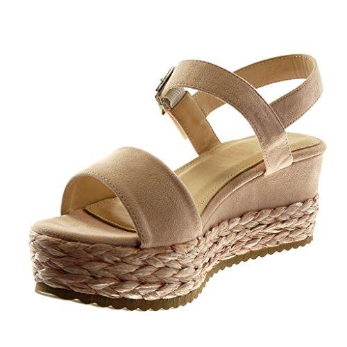 90e5a5a5f7179d Angkorly Chaussure Mode Sandale Mule Lanière Cheville Plateforme Femme avec  de la Paille Tréssé Lanière Talon ...