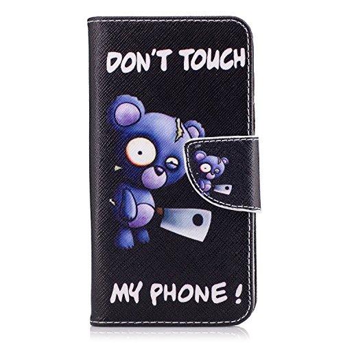 Voguecase Pour Samsung Galaxy J3 2017 Coque, Étui en cuir synthétique chic avec fonction support pratique pour iPhone 5S (Ours-Marron)de Gratuit stylet l'écran aléatoire universelle Ours Bleu