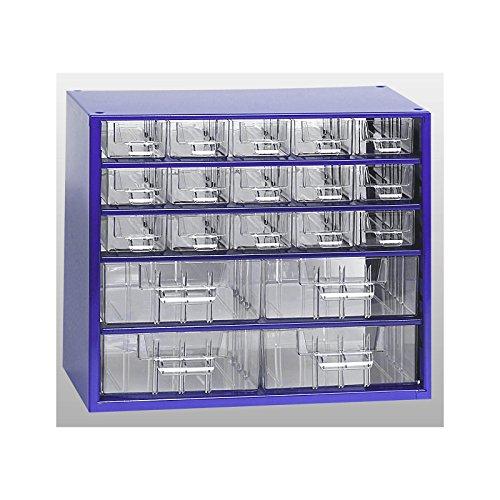 Certeo Schubladenmagazin aus Stahl | HxBxT - 282 x 306 x 155 mm | 19 transparente Schubladen - 2 Größen | Gehäuse ultramarinblau | Kleinteilemagazin Klarsichtmagazin - Große Stahl-gehäuse