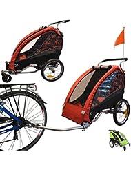 Papilioshop Fox - Remolque con carrito de bicicleta para el transporte de 1 niño (incluye rueda delantera giratoria, plegable) rojo