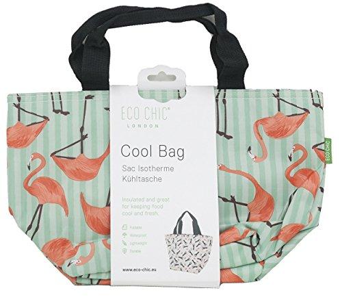 Eco Chic Isolierte Lunch-Tasche, Kühltasche, Picknick-Tasche, Tasche für Lunchpakete, Flamingo Green - Cool Flamingos