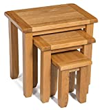 Monchique Oak Nest of Tables in Light Oak Finish | Solid Wooden Nested Tables