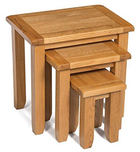 monchique oak nest of tables in light oak finish solid. Black Bedroom Furniture Sets. Home Design Ideas