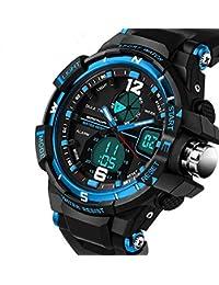 QBD Digital-analog Boys Girls Sport Digital Watch with Alarm Stopwatch Chronograph - 50m Water Proof -( G Blue)
