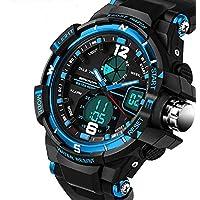 QBD digitale-analogico Boys Girls Sport orologio digitale con allarme, cronometro e cronografo, impermeabile fino a 50m, Scatola Regalo Inclusa (G Blu)