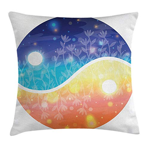 Safe-t-beam (ZTLKFL Apartment Decor Throw Pillow Cushion Cover by, Yin Yang Symbol with Lights Beams Harmony of The Universe Gradient Tone Theme, Decorative Square Accent Pillow Case, 18 X 18 Inches, Multi)