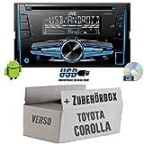Toyota Corolla Verso Silber - JVC KW-R520E - 2DIN Autoradio Radio - Einbauset