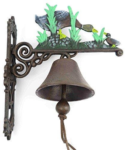 Gartenglocke Wandglocke ENTE Gans Gusseisen Eisen Eisenglocke Metallglocke Schiffsglocke Antik rustikal braun Bauernhof Hofglocke