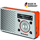 TechniSat Digitradio 1 Digital-Radio Made in Germany (klein, tragbar, mit Lautsprecher, DAB+, UKW, Favoritenspeicher, OLED-Display) silber/orange