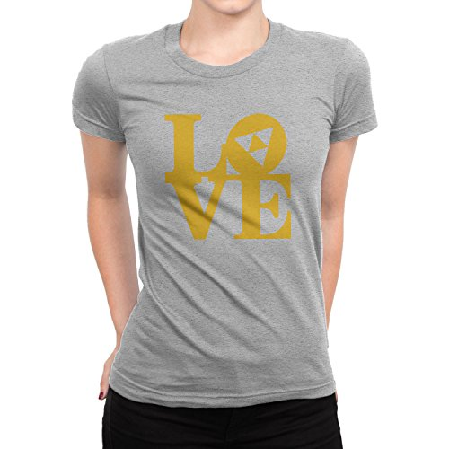 Planet Nerd - Triforce Love - Damen T-Shirt Grau Meliert