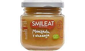 Smileat Tarrito de Manzana y Naranja Ecológica - Paquete de 12 x 130 gr - Total: 1560 gr