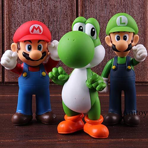 Mario Spielzeug Yoshi Luigi PVC Action Figure Party Dekoration Spielzeug 3 Teile/Satz 11-12 cm KT2652 ()