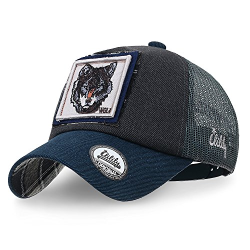06090d5321eee ililily Wolf Deer Animal Square Patch Casual Mesh Baseball Cap Trucker Hat