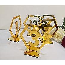 RUIXUAN - Números de Mesa geométricos acrílicos para Bodas, números de Mesa hexagonales, Centro