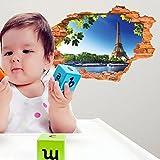 Thatch Kreative Wandaufkleber Tapete Blauer Himmel und der Eiffelturm 3D Wall Sticker den austauschbaren PVC-tapeten kinder Dekorationen an der Wand 60 * 90 cm.