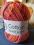 Grundl 861-170 50 g Cotton Quick Print Knitting Yarn Ball, Burgundy Multi-Colour
