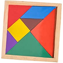 kingtoys® Tangram Educación Juguete Colorido de Madera Cerebro Training Geometría Rompecabezas Tangram con Manual