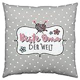 H:)PPYlife Baumwoll-Kissen Beste Oma Der Welt, Grau, 40 x 40 x 3 cm