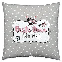 Happy Life Baumwoll Welt Kissen, grau, 40 x 40 x 3 cm, Geschenk Oma Zierkissen, Rosa, 40 cm x 40 cm x 3 cm