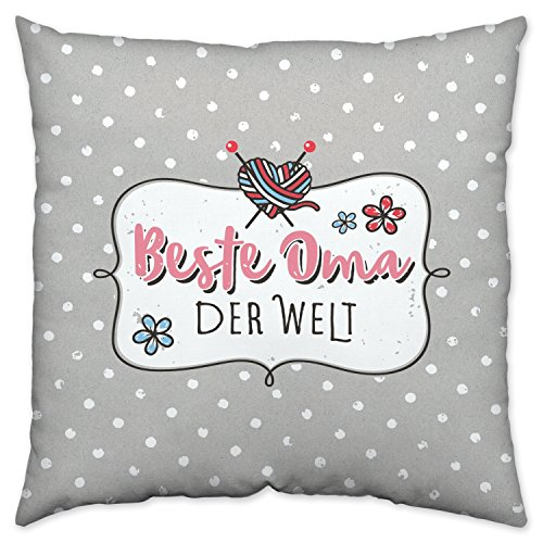 Happy Life Baumwoll Welt, grau, 40 x 40 x 3 cm, Geschenk Oma Zier-Kissen, Rosa, 40 cm x 40 cm x 3 cm