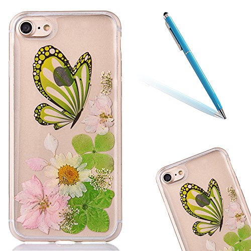 "iPhone 6sPlus Handyhülle, CLTPY iPhone 6Plus Transparent Klare 3D Motiv Fall, [Ultra Hybrid] Echte Getrocknete Blumen Series Etui, Dünne Stoßfest Gummi Case für 5.5"" Apple iPhone 6Plus/6sPlus (Nicht i Floral 18"