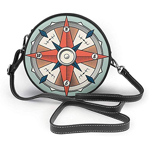 TURFED PU Runde Umhängetasche Pfeil Kompass Illustration Pfeile Kartografie Reiseweg Immer Nordtürkis Leichte Umhängetasche