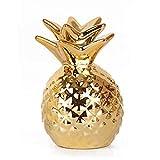 SODIAL Gold Ananas Glasur Keramik Ornamente Ananas Spardose Goldmuenze Sparschwein Speicher Home Dekoration