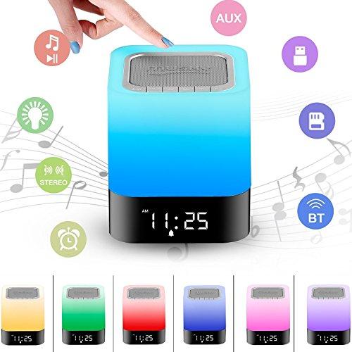Bluetooth Lautsprecher Lampe / Wake Up Light mit LED Wecker / Touch Control Nachttischlampe, Dimmbar RGB Farbwechsel Lichtwecker, Musik Stimmungslicht Tischlampe, Kinder Nachtlicht Modus, MP3-Player, TF-Karten-Musik Spielen, Schlafmodus, Bluetooth Speaker Licht von MIGVELA [ Energieklasse A+++ ] (Bluetooth-lautsprecher Licht)