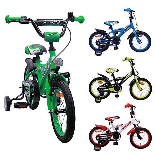 AMIGO BMX Turbo - Kinderfahrrad - 14 Zoll - Jungen - mit Rücktritt und Stützräder - ab 3 Jahre - Grün